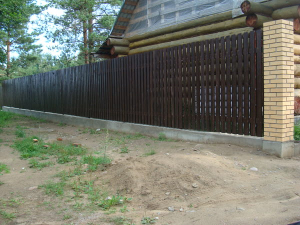 Фундамент под забор: штакетник с кирпичной кладкой